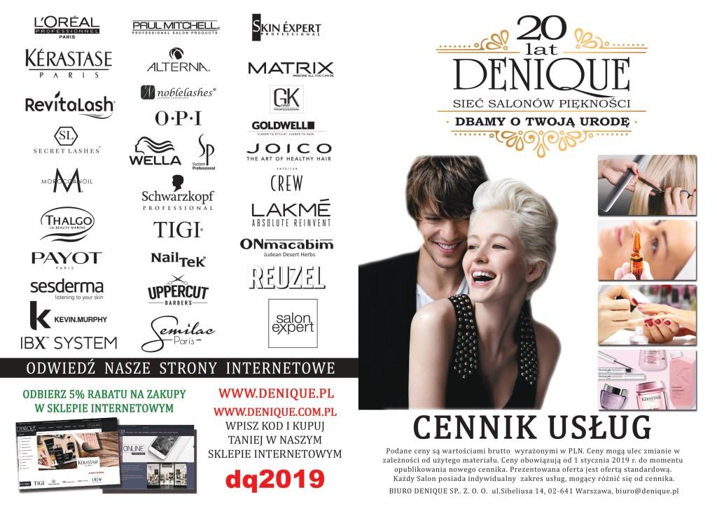 Cennik Usług 2019 Fryzjerstwo Denique Sieć Salonów